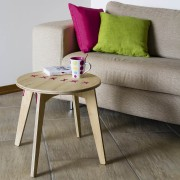 stitched coffee table natural with fuchsia string