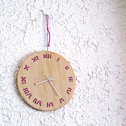 stitched wall clock natural with fuchsia string