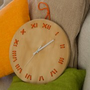 stitched wall clock natural with orange string