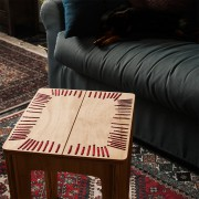 stitched stool natural with red string