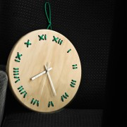 stitched wall clock natural with mint string