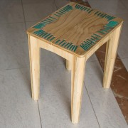 stitched stool natural with turquoise string