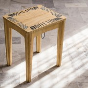 stitched stool natural with lead string