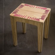 stitched stool natural with fuchsia string