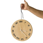 stitched wall clock natural with lead string