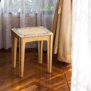 stitched stool natural with pearl string