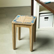stitched stool natural with blue string