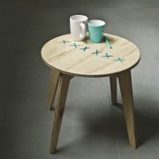 stitched coffee table natural with turquoise string