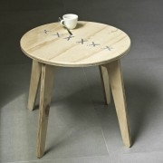 stitched coffee table natural with pearl string