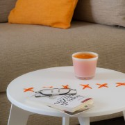stitched coffee table white paint and orange string