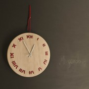 stitched wall clock natural with red string