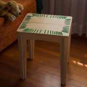 stitched stool natural with mint string